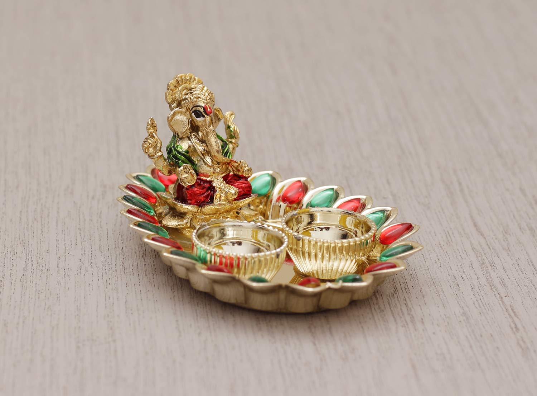 Laxmi//Ganesh Pooja W Weblytech Ganesha Thali with Red and Green Stone Diwali Pooja Thali Tilak Decorative Platter Set