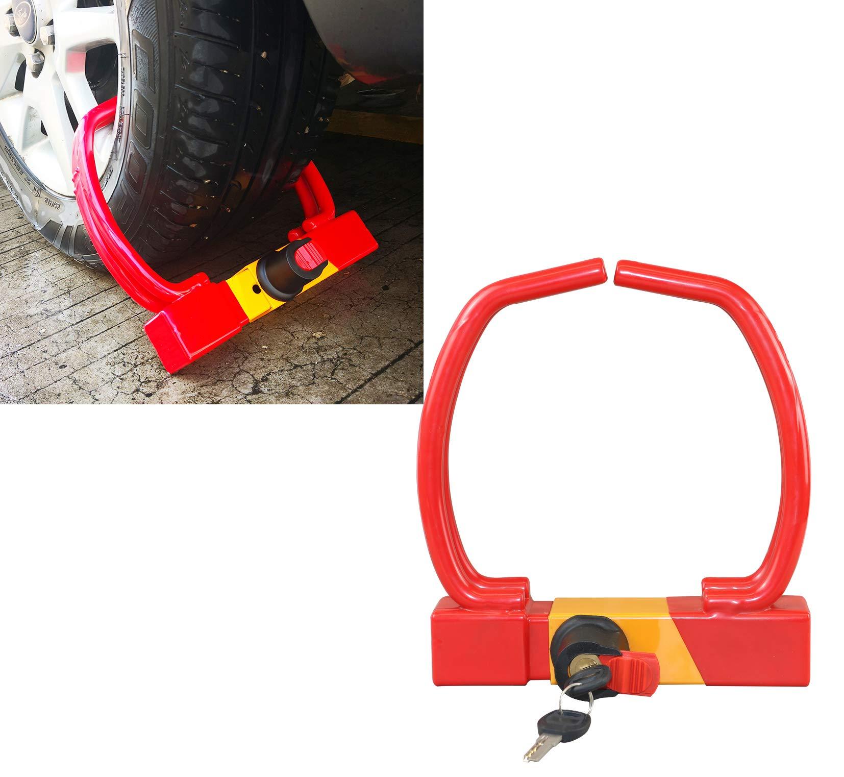 Red Universal Heavy Duty Security Anti-Theft Wheel Clamp Max 12'' Lock w/2 Keys