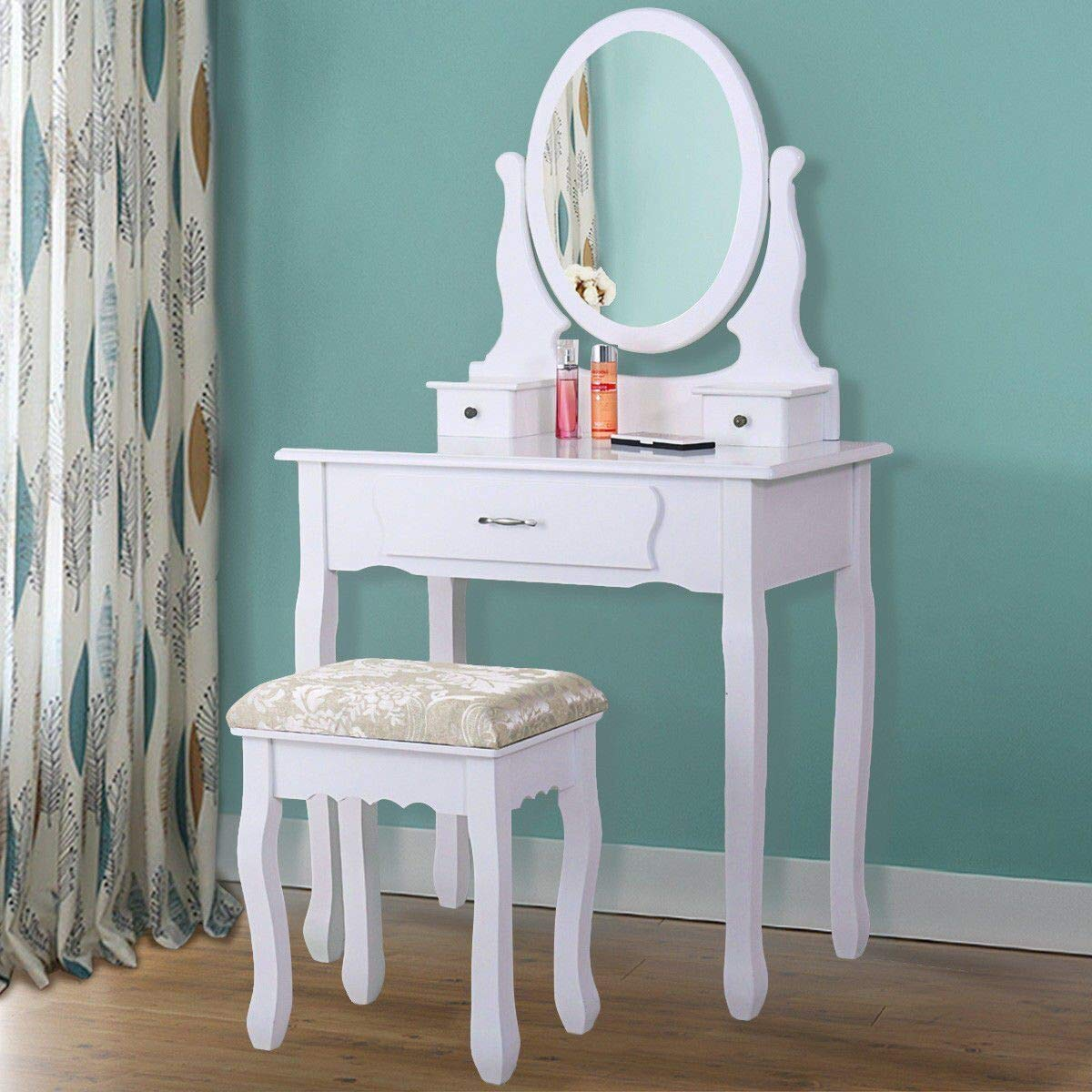 Joolihome Bois Coiffeuse 3tiroirs Miroir ovale pour chambre à coucher Morden Style Blanc 9202G blanc