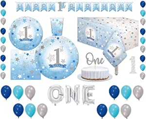 Serves 30 | Complete Party Pack | Baby Boy First Birthday Tableware Kit | Plates | Cups | Napkins | Table Cover | Balloons | Banner | Ideal for 1st Birthday Boy theme baby decorations for boys | One Letter Balloon | 1st Birthday Boy