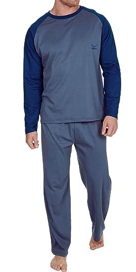 aa691a0510a87b Insignia Herren Pyjama Set Langarm-Top & Hosen Baumwoll Schlafanzug - Blue- Blue,