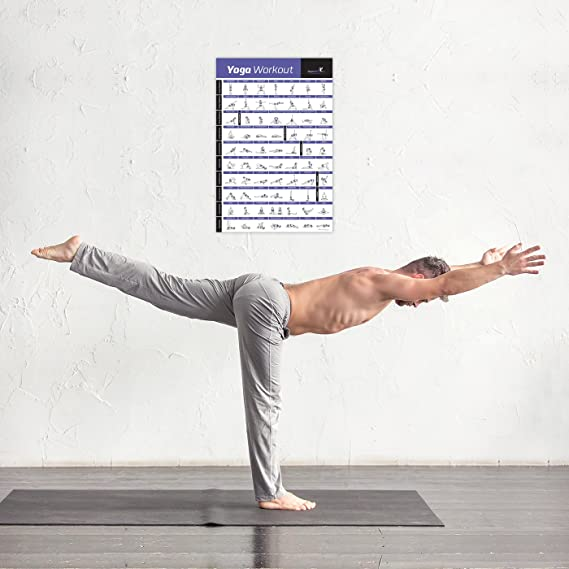 Yoga Pose Póster De Ejercicios laminado - PREMIUM para principiantes ... 345d8d935718
