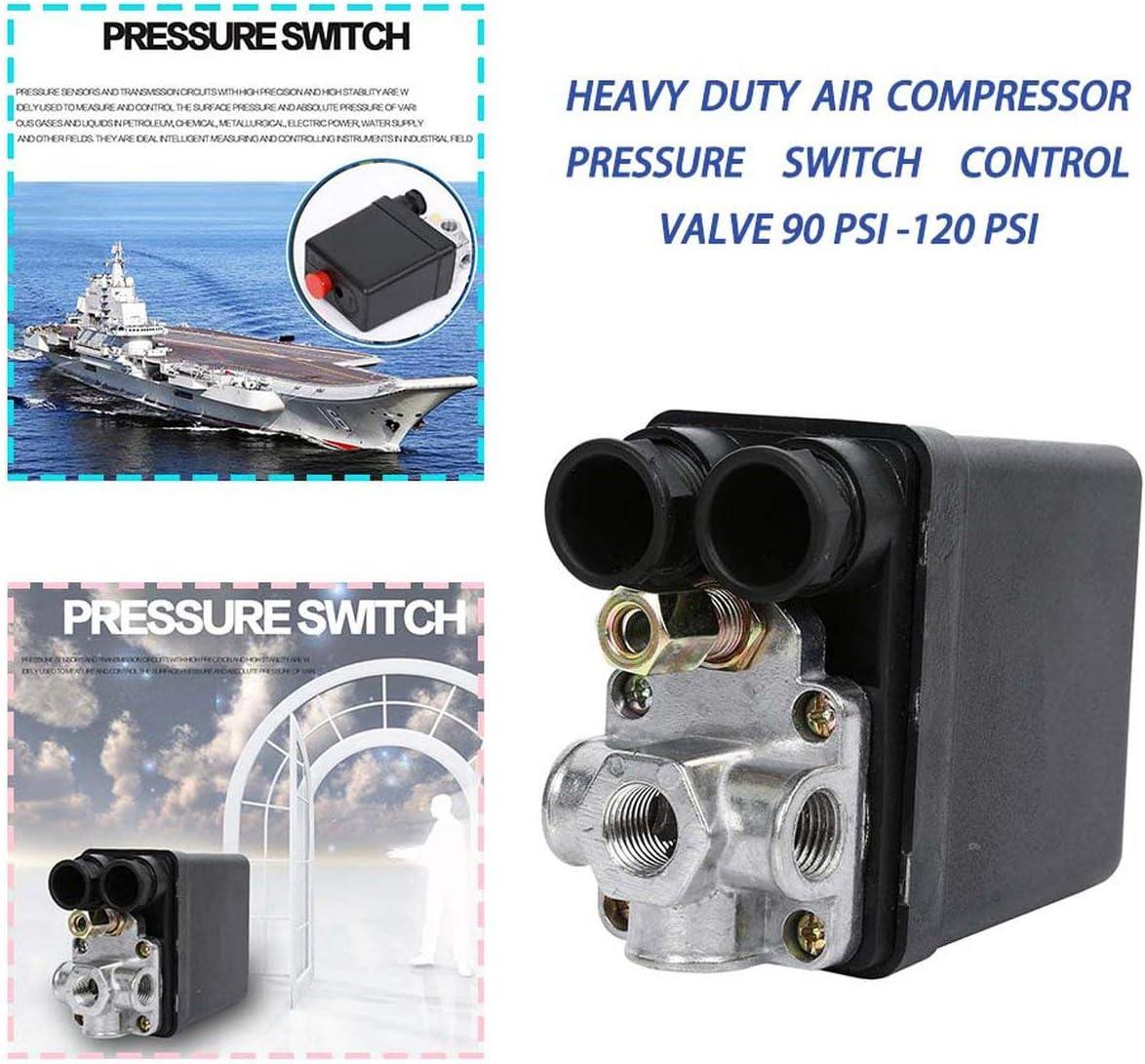 JIUY Heavy Duty 240V 16A Auto Control automatique de chargement//d/échargement de compresseur dair Pressostat Vanne de r/égulation 90 PSI noir 120 PSI