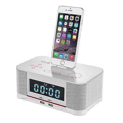 new concept c3388 8b2eb Amazon.com: Bzng Dual Alarm FM Clock Radio with Lightning Dock USB ...