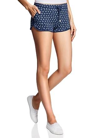 oodji Ultra Damen Jersey-Shorts mit Marine-Druck  Amazon.de  Bekleidung fc4a41107d