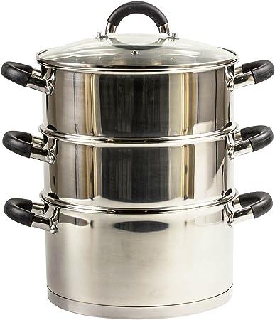 COPERCHIO IN VETRO NUOVO 3 Tier Pezzo Metallo Acciaio inossidabile Steamer Verdura Set di Pan