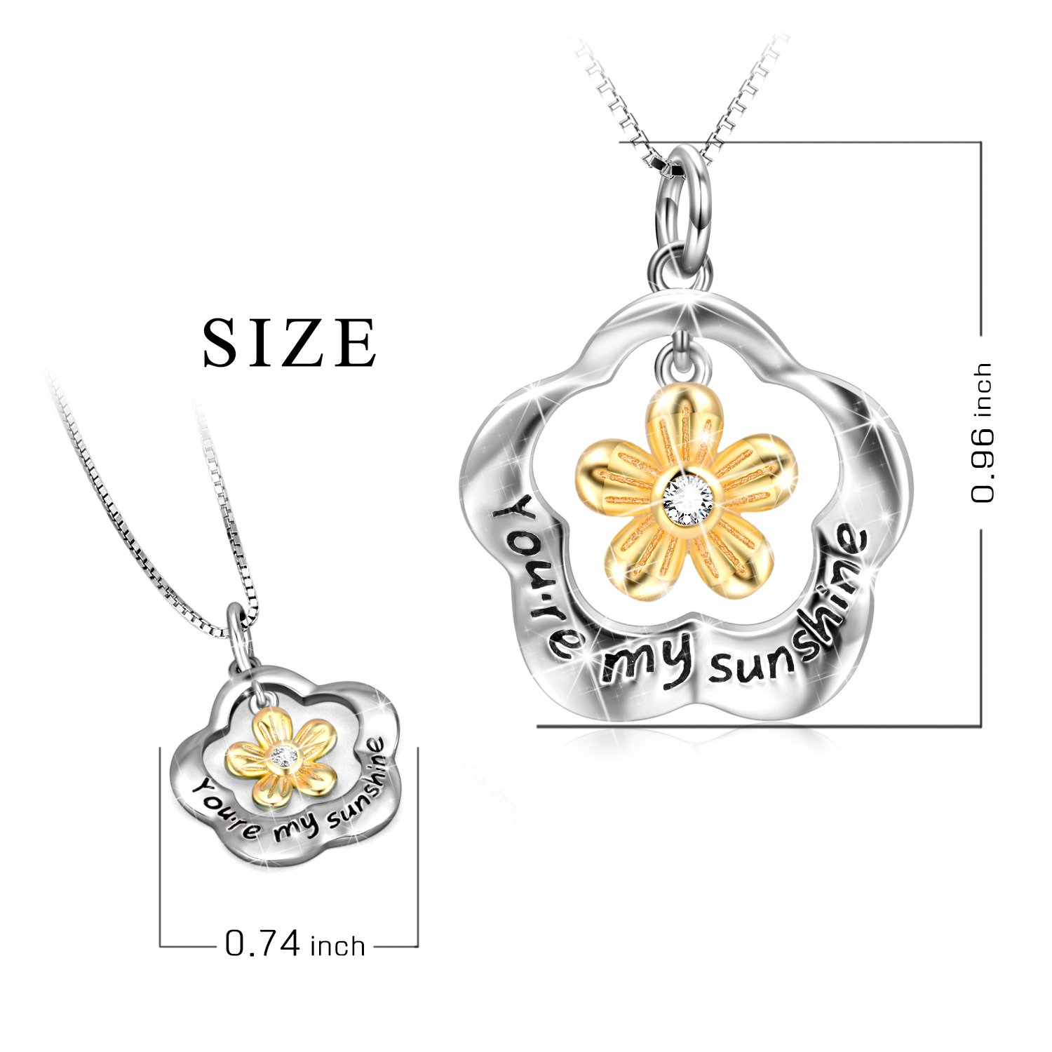POPLYKE You are My Sunshine Sterling Silver Sunflower Pendant Necklace Gifts for Women Girls by POPLYKE (Image #2)