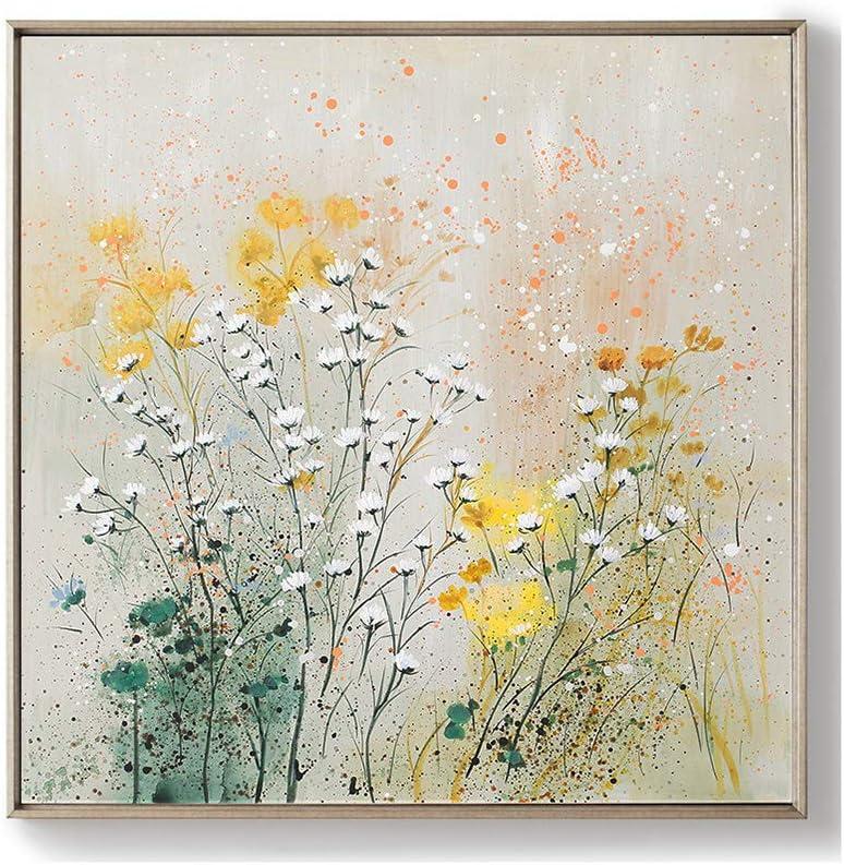 キャンバスウォールアート、ホームオフィスベッドルームリビングルーム壁の装飾のための手塗りの油彩画、花の花、現代アートワーク、