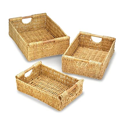 Attrayant Woven Storage Baskets, Large Organizer Baskets, Straw (set Of 3)