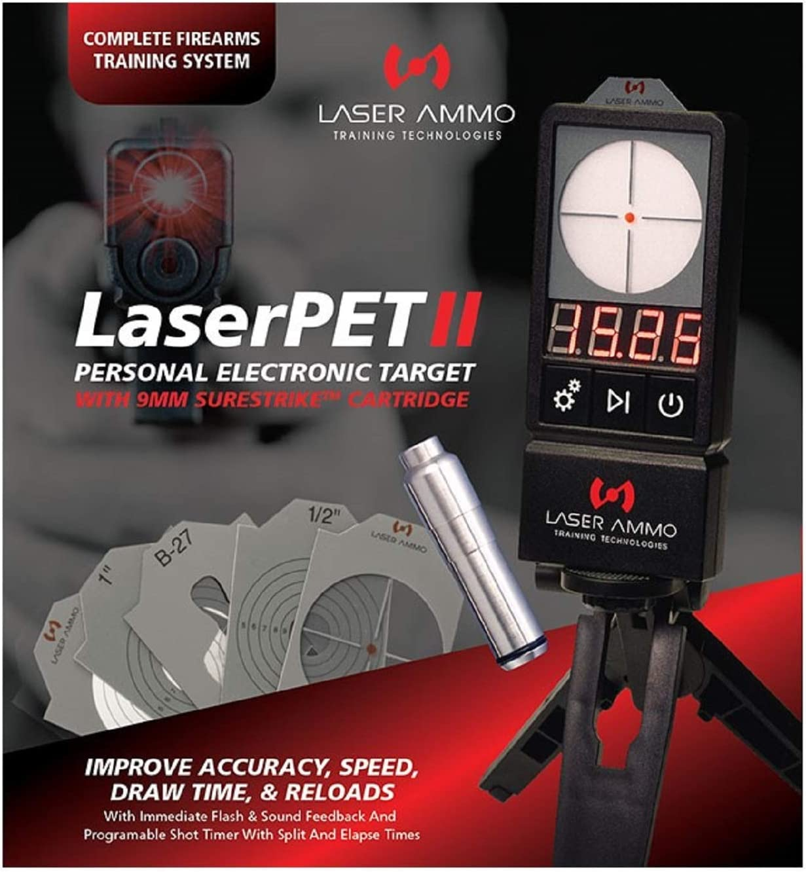 Laser Ammo LaserPet II Electronic Target + SureStrike 9mm Cartridge, Red