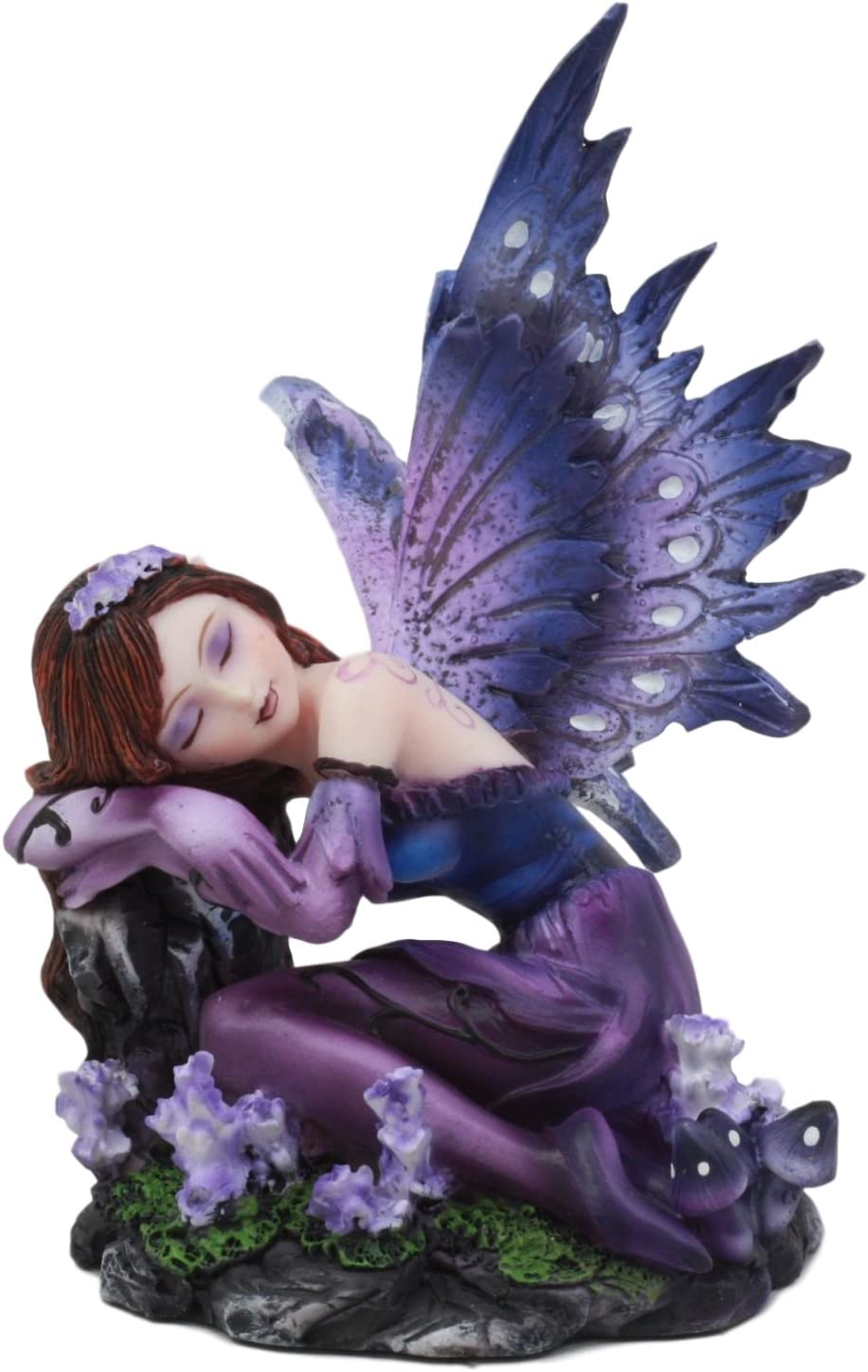 "Ebros Sleeping Purple Lavender Girl Fairy Garden Statue 4.5"" Tall Twilight FAE Pixie Fantasy Collectible Figurine"