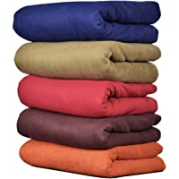 GOYAL'S Plain Fleece Single Bed Blanket (58X88 Inch, Multicolour) - Pack of 5