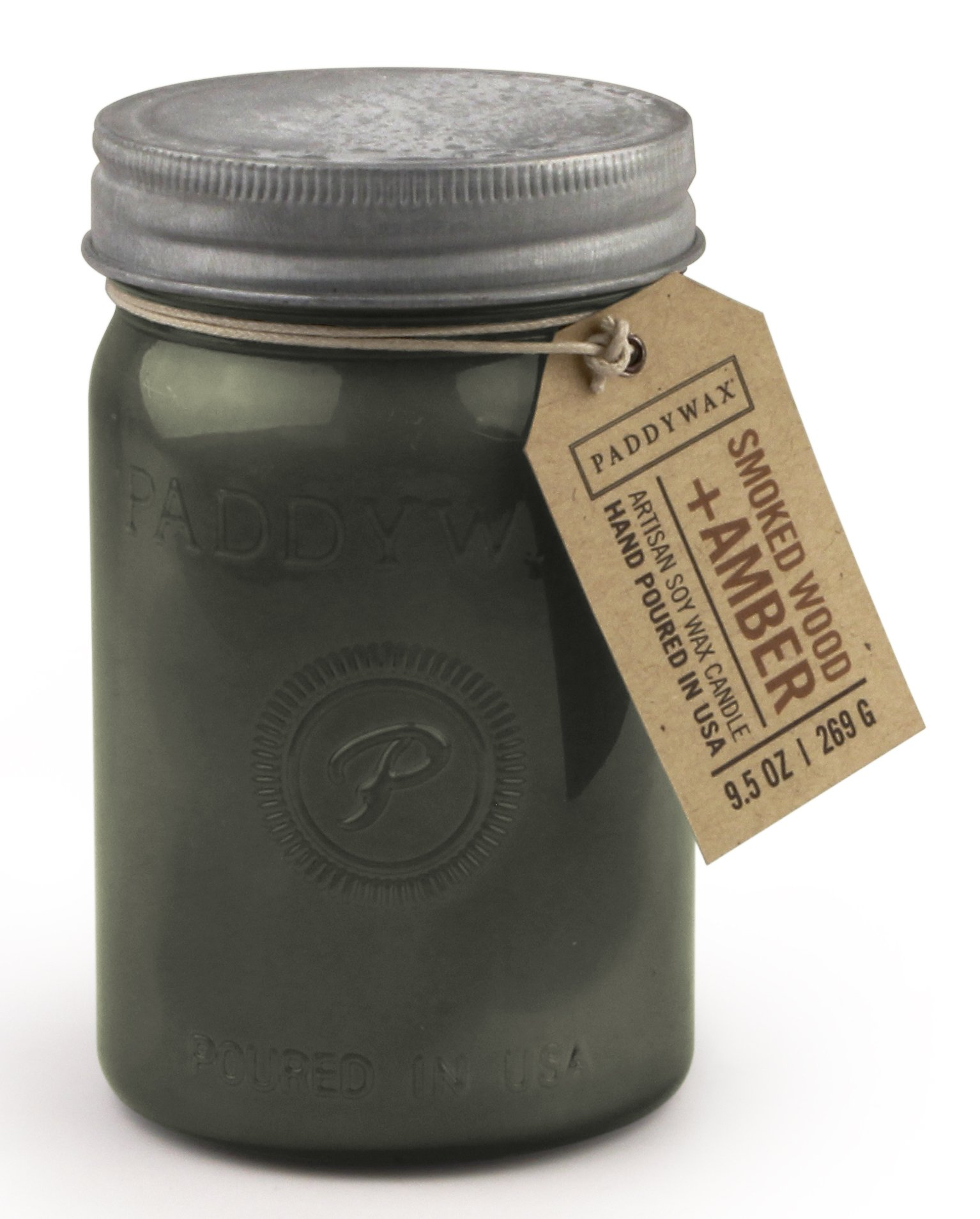 Paddywax Relish Collection Scented Soy Wax Jar Candle, 9.5-Ounce, Smoked Amber & Wood by Paddywax (Image #1)