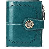 SENDEFN Small Women Wallet Genuine Leather Bifold Purse with ID Window