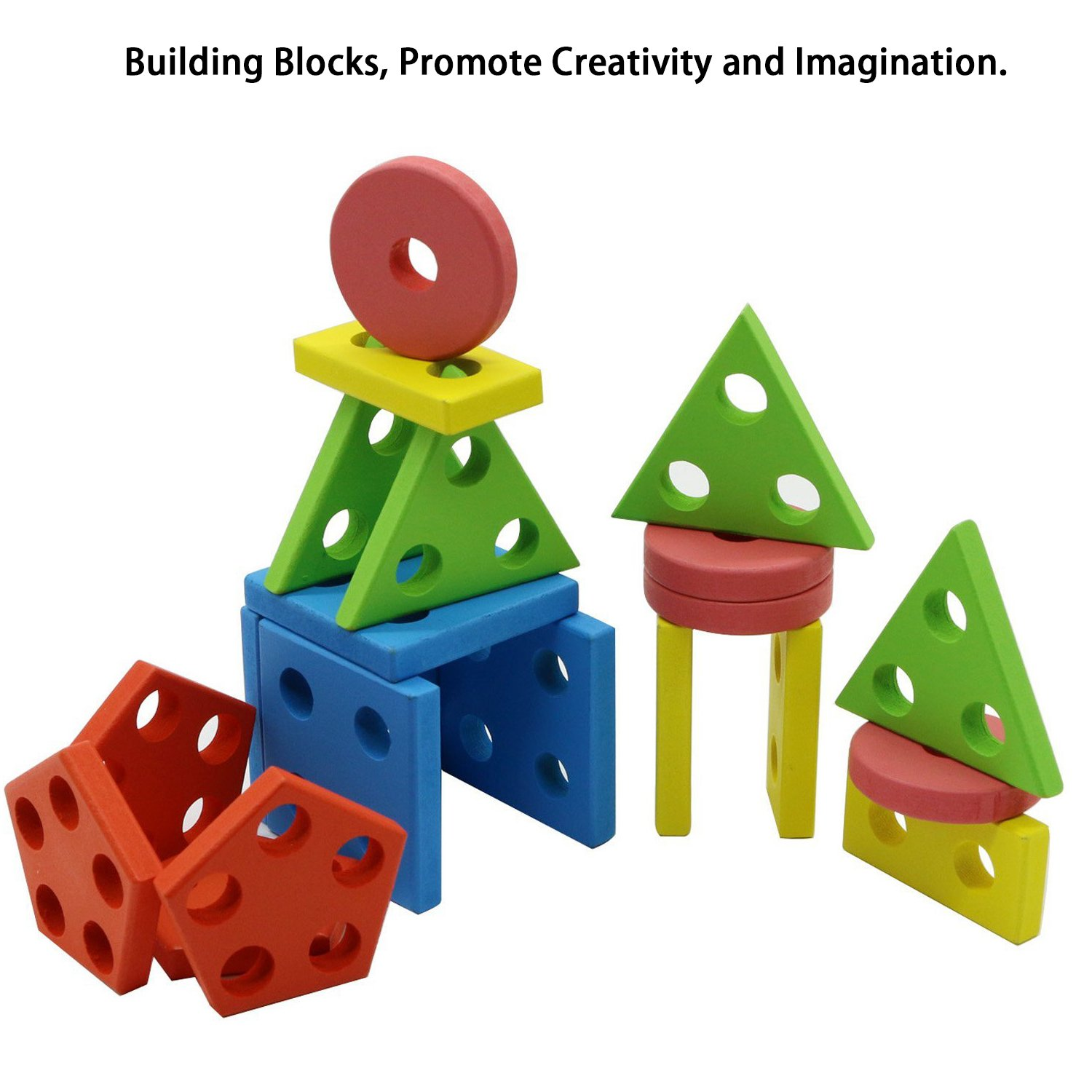 Amazon.com: MoTrent Wooden Educational Preschool Shape Color ...
