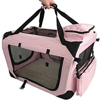 RayGar PINK DOG PUPPY CAT KITTEN PET SOFT FABRIC PORTABLE FOLDABLE STRONG  CRATE PET CARRIER KENNEL a542ffd2ea