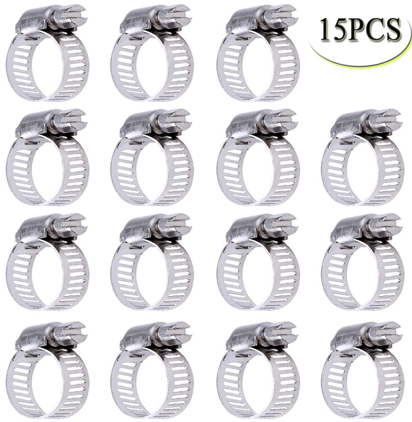 Miniature Power-Seal Worm-Drive Kit 19 to 29 Pack of 15 Stainless Steel Hose Clamp for Worm Drive Gear Hose Clamps