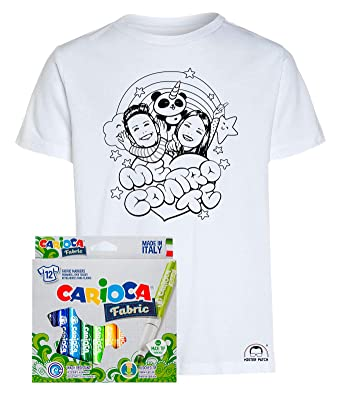 Idea Regalo Per Bambini Maglietta T Shirt Da Colorare Con Colori