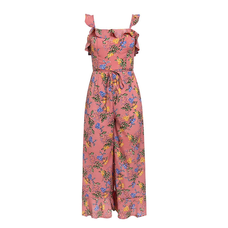 Ruffle Strap Boho fl Print Backless Wide Leg Jumpsuit Plus Size Holiday Beach Romper 2019