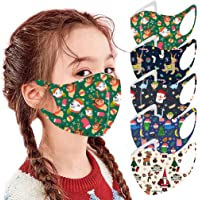 5PCS Children Kids Halloween/Christmas Reusable Face Bandana,Breathable Ice Silk Face Cover,Back to School Supplies