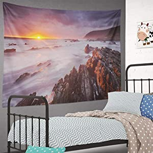 DXDXL National-Park Wall Tapestry Spectacular Sunset Section Garden Route National Park South Africa Tapestry Wall Hanging 60L x 80W,Small Tapestry for Bedroom Ocean Sea