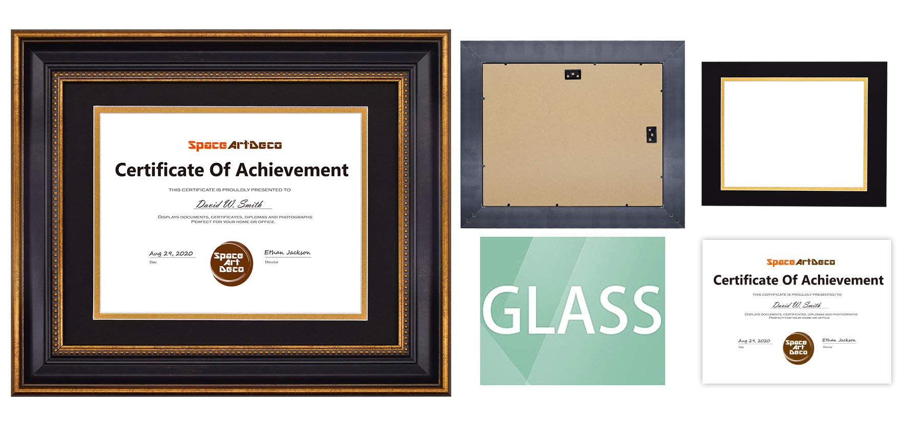 Space Art Deco, 11x14 Ornate Gold Diploma Frame - Black/Gold Double Mat for 8.5x11 Document - Wall Mounting - Sawtooth Hangers - for Graduation, Commencement, Acknowledgements, Degrees by Space Art Deco (Image #6)