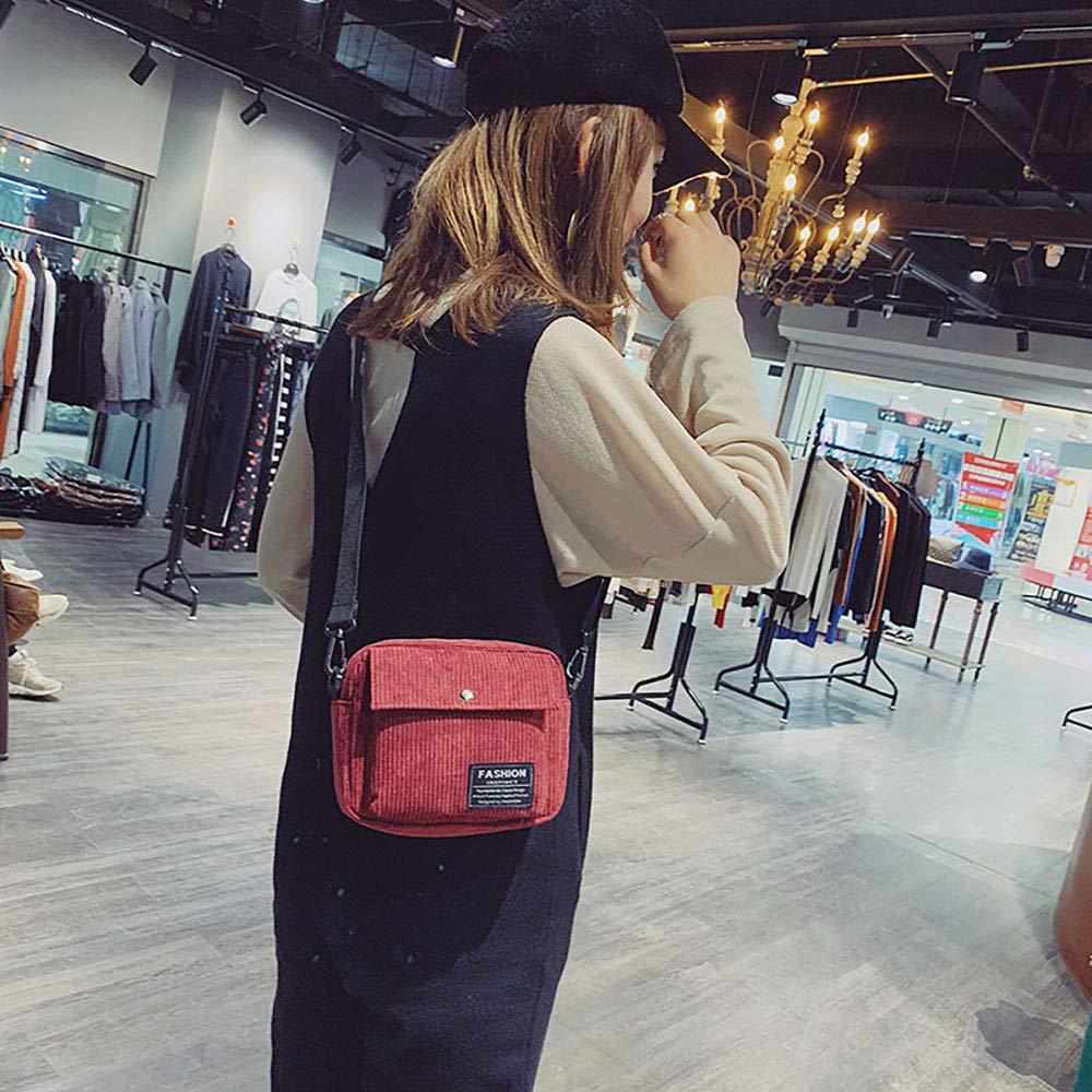 Women Canvas Single Shoulder Messenger Bag Small Square Bag Corduroy Bag