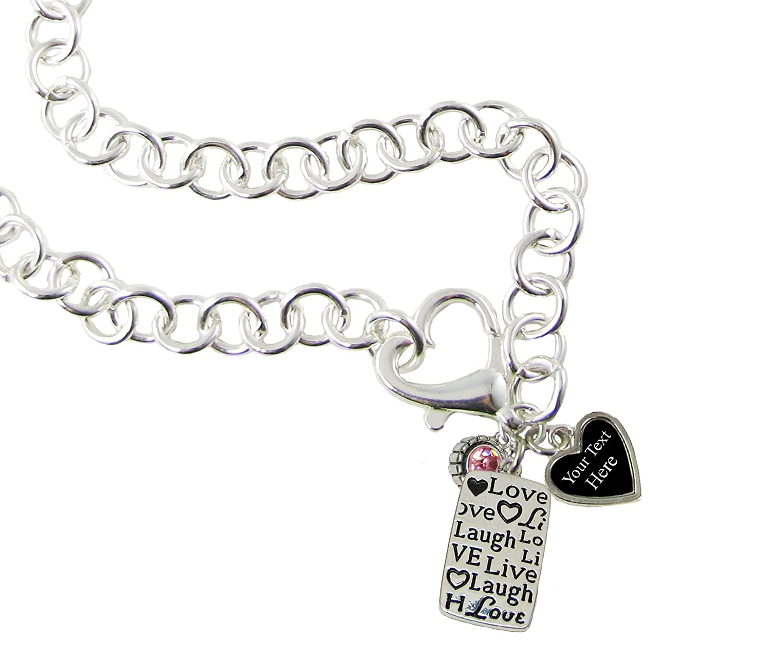 Holly Road Live Love Laugh Silver Heart Clasp Necklace Jewelry Choose Your Text