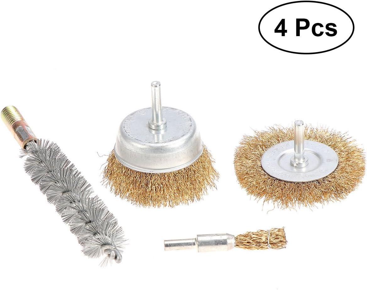 OUNONA 4PCS Wire Wheel Brush Set Polishing Wheels Abrasive Wheels Drill Accessory Kit for Dremel Die Grinder Rotary Tools