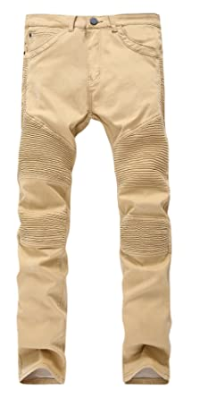 Krralinlin Men's Khaki Biker Moto Jeans Ripped Skinny Stretch Slim ...
