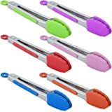 HINMAY Small Silicone Tongs Set 7-Inch Colorful Mini Tongs, Set of 6 (Green Red Blue Purple Pink Orange)