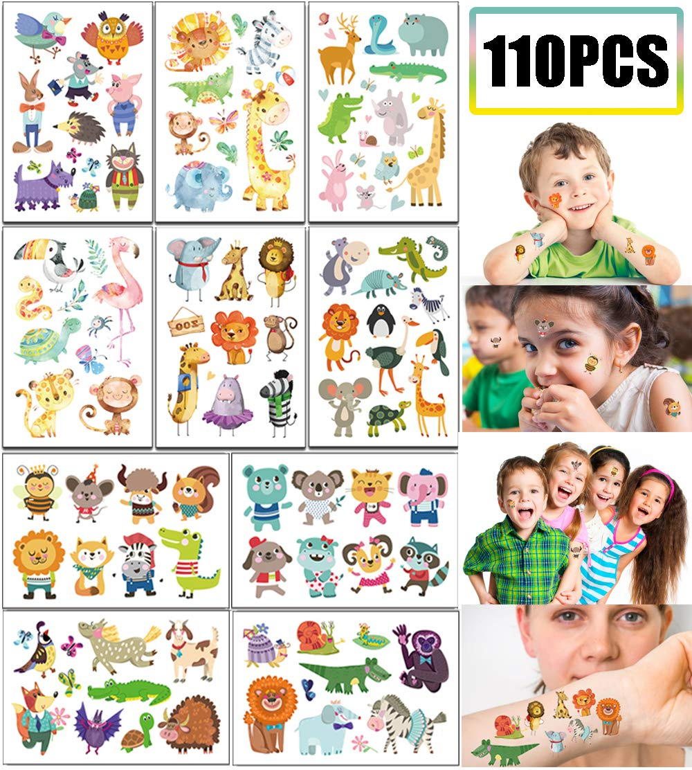 Jungle Safari Baby Shower//Birthday Party Favors Supplies Goodie Bag Stuffers 10 Sheets 110PCS Adorable Zoo Animal Tattoos Temporary for Kids