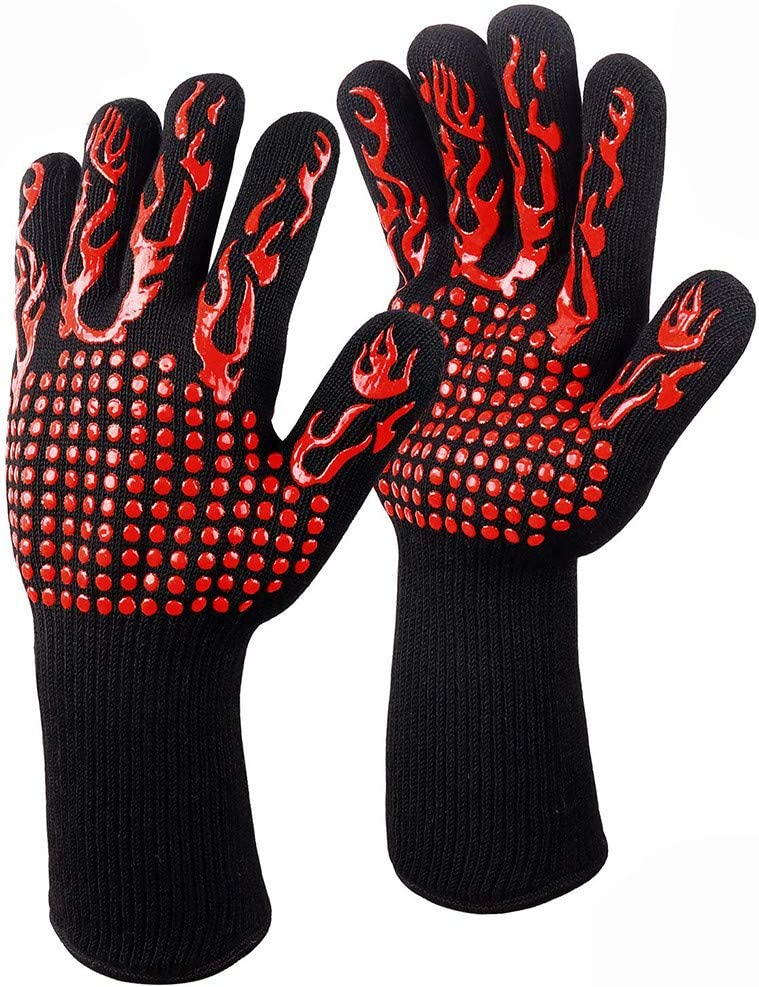 Thinktoo 1Pair Hot BBQ Grilling Cooking Gloves Extreme Heat Resistant Oven Welding Gloves