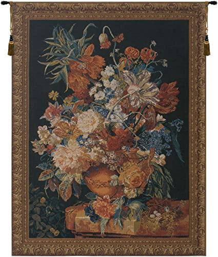 Charlotte Home Furnishing Inc. Belgian Tapestry Wall Hanging, 50 in. x 65 in, Terracotta Floral Bouquet Black – Floral Tapestries