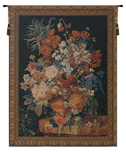Amazon.com: Terracotta Floral Bouquet Black Belgian Wall Art ...
