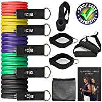 homtuzan Resistance Bands Set 12 Pcs with 5 Stackable Exercise Bands Handles Carry...