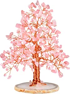"""mookaitedecor Rose Quartz Crystal Tree Tumbled Stones, Geode Agate Slices Base Money Tree Decoration for Wealth and Luck 5""""-6"""""""