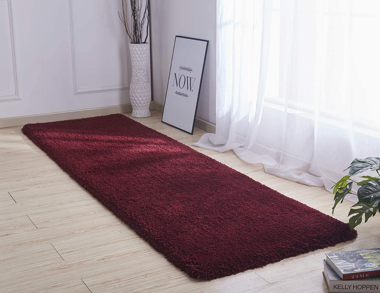Picturesque Shaggy Rug Hallway Rug 50mm Thick Fluffy Soft Non-Slip Carpet for Living Room Bedroom Wine red,77x275cm 2.5 x 9