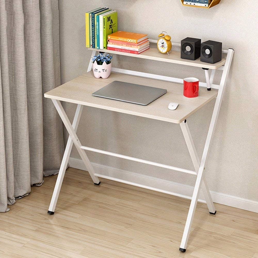 MJY Folding Desk Simple Foldable Table Study Desk Folding Writing Computer Desk for Home Office Storage Rack 80 50Cm Save Space Dormitory Student Easy Lazy Bed Simple Home,a