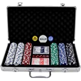 Oypla Poker Set - 300 Piece Texas Hold Em Complete With Chips, Cards, Dice, And Casino Style Case