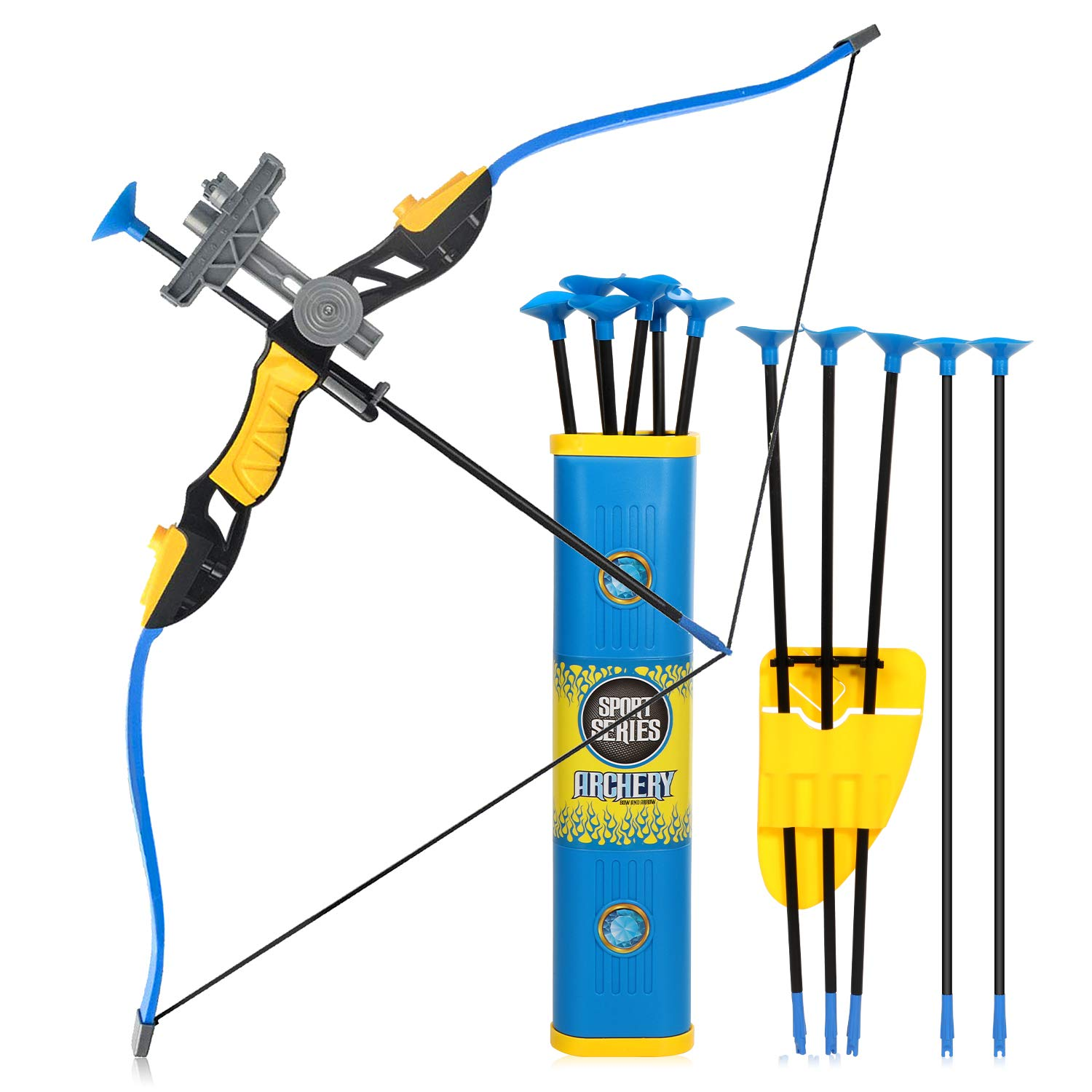 Goldboy Kids Bow and Arrows, Kids Archery Bow and Arrow Toy Set for Boys Girls, Hunting Shooting Bows for Kids, Toy Archery Set Fun Sport Game with 12 Durable Suction Cup Arrows(Blue) by Goldboy