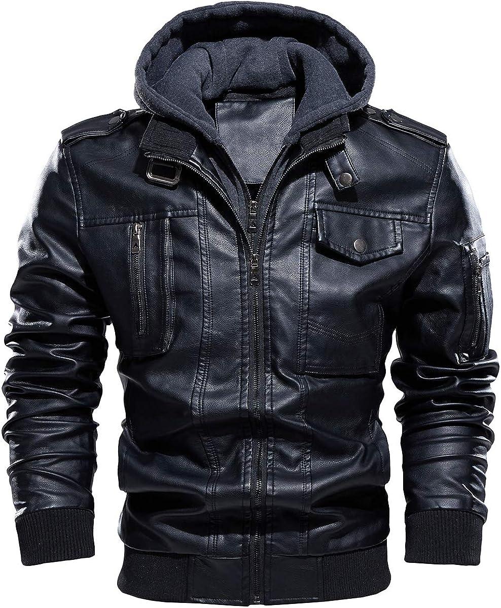 TREKEK Men's Faux Leather Jacket Sale special price Warm Winter Lined Popular Fleece Motorc