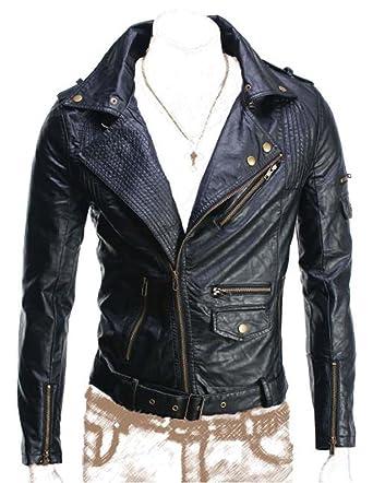 Homme Biker Rokko Noir Fin Simili Cuir Jacket-Get Personnalisez Vestes -  Noir - XX 9b36a9dec430