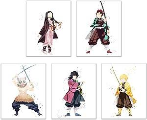 Watercolor Demon Slayer (Kimetsu no Yaiba) Prints - Set of 5 (8x10 Inches) Glossy Anime Manga Wall Art Decor - Tanjiro Kamado - Nezuko - Zenitsu Agatsuma - Inosuke Hashibira - Genya Shinazugawa