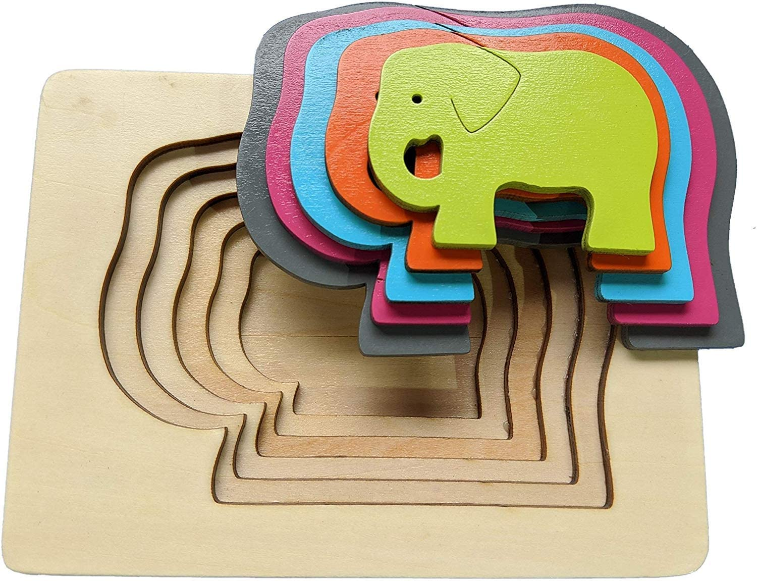 Bunny Toddler Puzzles and Toddler Toys Wooden Stacking Jigsaw Puzzles for Toddlers 3 years Montessori Toys for Toddlers Children and Kids Toys 6 Pieces Includes 5 Layers and Wooden Box
