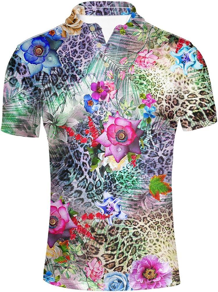 HUGS IDEA Summer Hawaiian Mens Short Sleevee Pique Polos T-Shirts