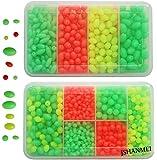 Fishing Bead 1000Pcs/box Soft Plastic Luminous Oval Shaped Beads Round Beads Fishing Lures Fishing Bead Fishing Tackle Tools Eggs for Rig