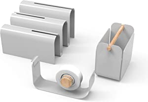 U Brands Metal Desk Organization Kit, Arc Collection, Cup, Tape Dispenser and Letter Sorter Included, Grey (3535A00-01)