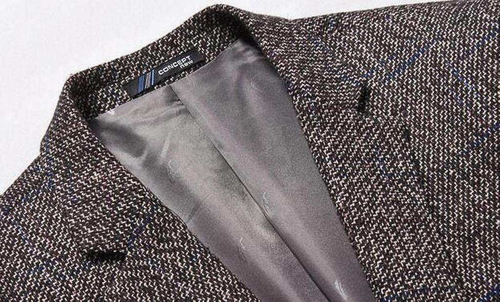 XTX Mens Fall Winter Casual Business Elbow Patchwork Dress Blazer Jacket Sport Coat