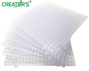Creator's Waffle Grid 6-Pack - Solid Bottom Translucent/Clear Modular Surface - Glass Cutting, Small Parts - Liquid Containment, Grow Room - For Home, Office, Shop - Also Use With Creator's Products
